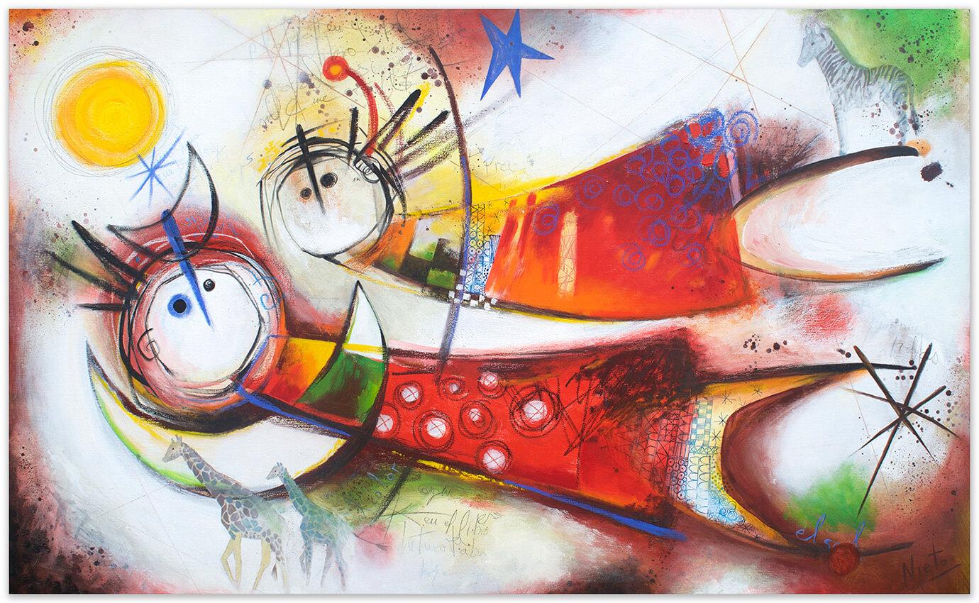 Diario de un viajero - painting by Angeles Nieto