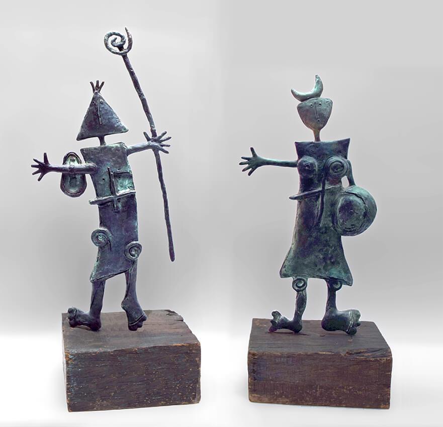 Hombre y Mujer diptych bronze Angeles Nieto