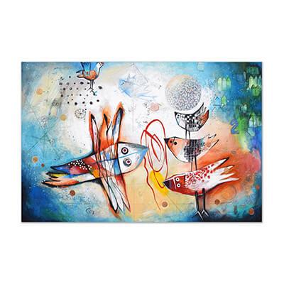 Pájaros de la esperanza - painting by Angeles Nieto