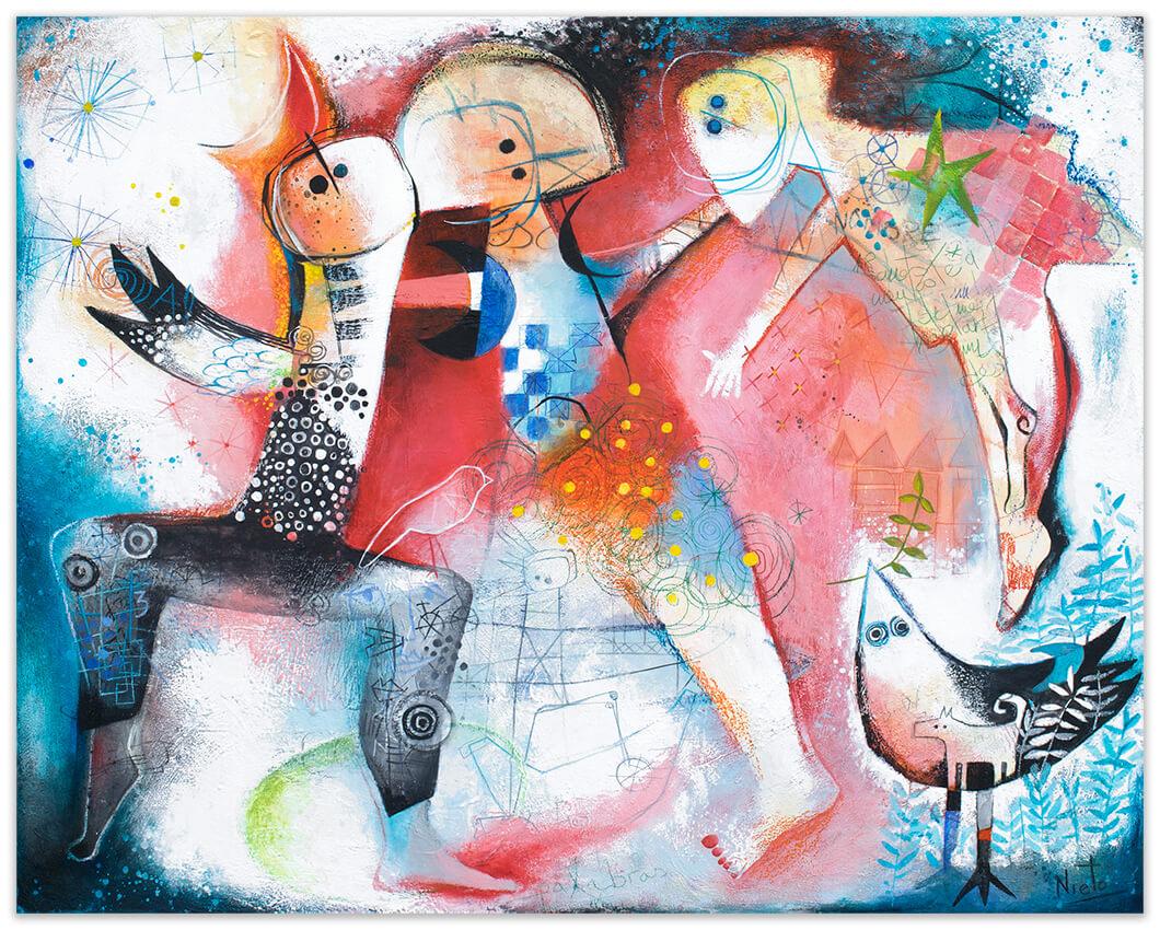 Bailando al viento - original painting by Angeles Nieto