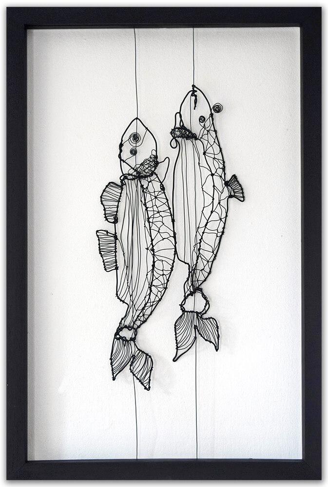 Pescado rellenas - original wire art by Angeles Nieto
